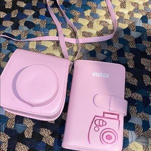 polaroid camera instax pink case and photo book